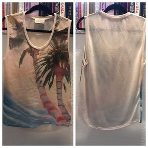 Zara Painted Tropical Graphic Hi Low Hem Tank Top
